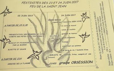 Les festivités de la Saint Jean les 23 et 24 juin 2017